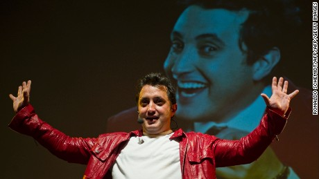 Colombian comedian and actor Andres Lopez, a pioneer of stand-up comedy, performs during a presentation for the press in Mexico City, on September 8, 2011. Lopez is in Mexico for several performances of his show. AFP PHOTO/RONALDO SCHEMIDT (Photo credit should read Ronaldo Schemidt/AFP/Getty Images)