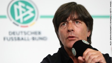 FRANKFURT AM MAIN, GERMANY - MAY 17:  Germany head coach Joachim Loew and U21 head coach Stefan Kuntz announce the German squads for the FIFA Confedereations Cup Russia 2017 and the UEFA Under21 European Championship Poland 2017 during a press conference at the DFB headquarters on May 17, 2017 in Frankfurt am Main, Germany.  (Photo by Alex Grimm/Bongarts/Getty Images)
