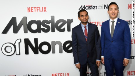 Comedian Aziz Ansari and Alan Yang attend the Netflix 'Master Of None' second season premiere at SVA Theatre in New York on May 11, 2017.