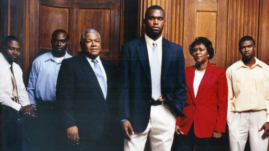 Rolle and his family, from left: Marvis, Mordecai, father Whitney, mother Beverly, and McKinley. The brothers are very close, and Myron's family has supported his endeavors in football and medicine, he says.