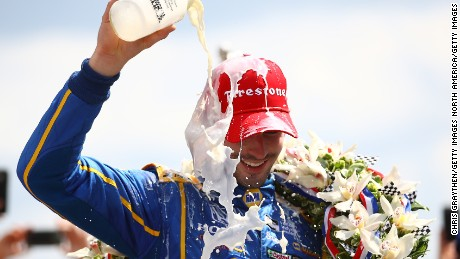 INDIANAPOLIS, IN - MAY 29:  Alexander Rossi, driver of the #98 NAPA Auto Parts Andretti Herta Autosport Honda celebrates after winning the 100th running of the Indianapolis 500 at Indianapolis Motorspeedway on May 29, 2016 in Indianapolis, Indiana.  (Photo by Chris Graythen/Getty Images)