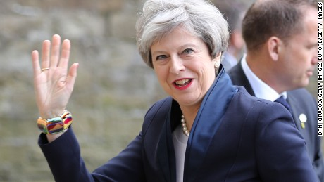 UK Prime Minister Theresa May arrives at the launch of the Conservative Party's Election Manifesto.