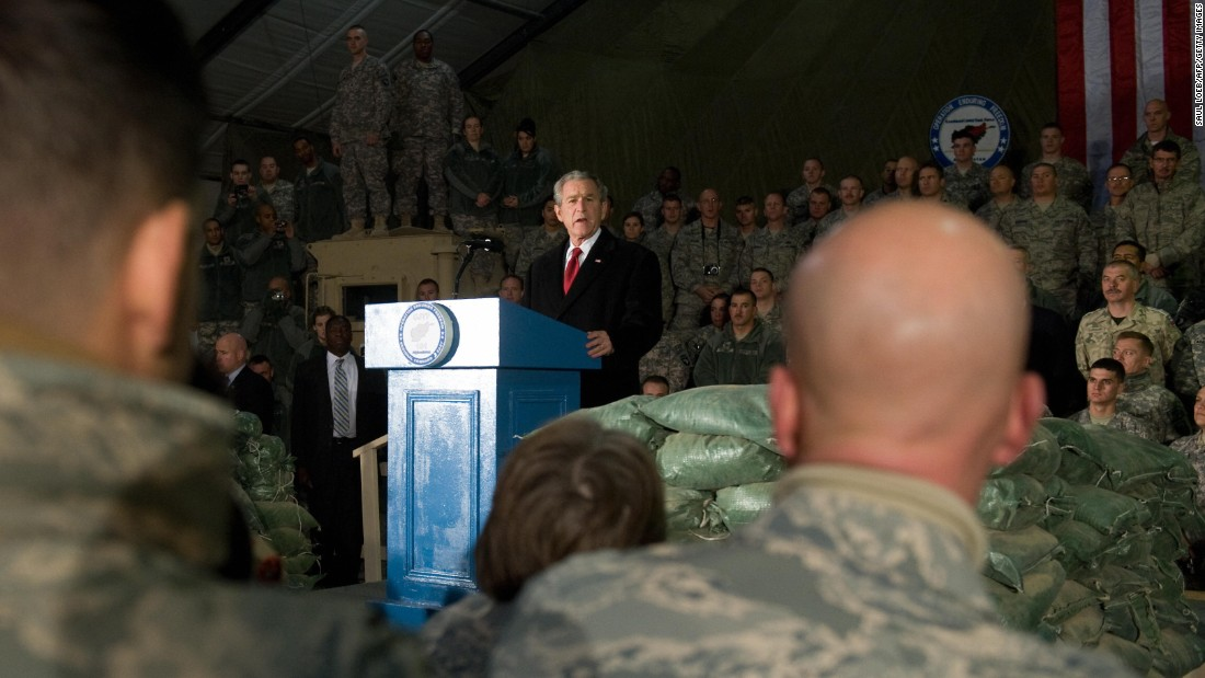 Bush speaks to US troops during an unannounced visit to Bagram Air Base on December 15, 2008. It was his second and last visit to Afghanistan as President.