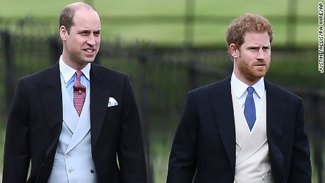Prince William, the Duke of Cambridge, arrives with his brother, Pince Harry.