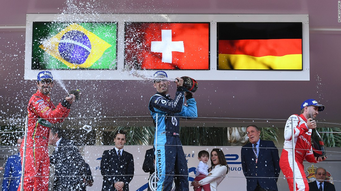 Sebastien Buemi (center) clinched a fourth win in five races to consolidate his lead the the top of the 2016/16 Formula E Drivers' Championship. His championship rival Lucas di Grassi (left) was second with Nick Heidfeld finishing third.