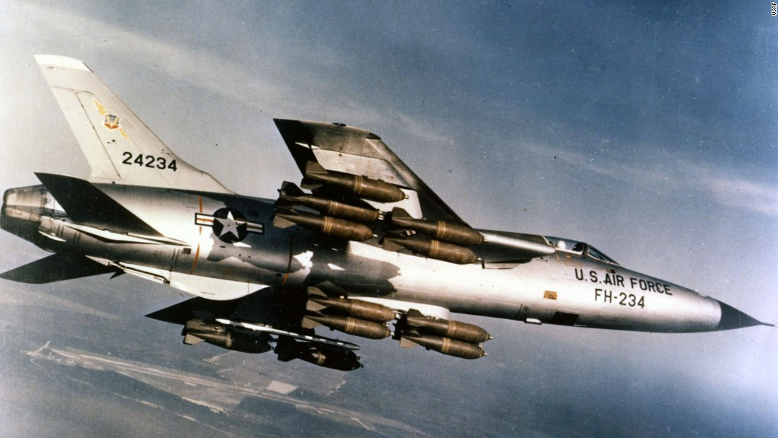 First flight: October 1955. Maximum speed: 1,390 mph. The F-105 could carry 12,000 pounds of conventional weapons -- a heavier bomb load than the much larger World War II-era B-17.