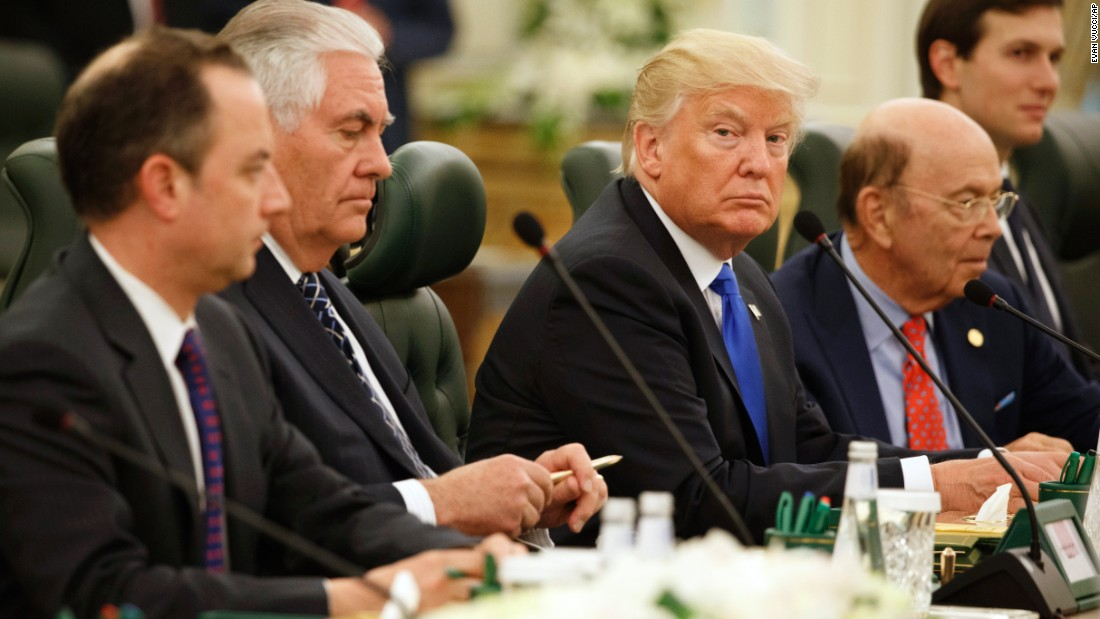 Trump sits with members of his staff and Cabinet before a meeting with Saudi King Salman on May 20.