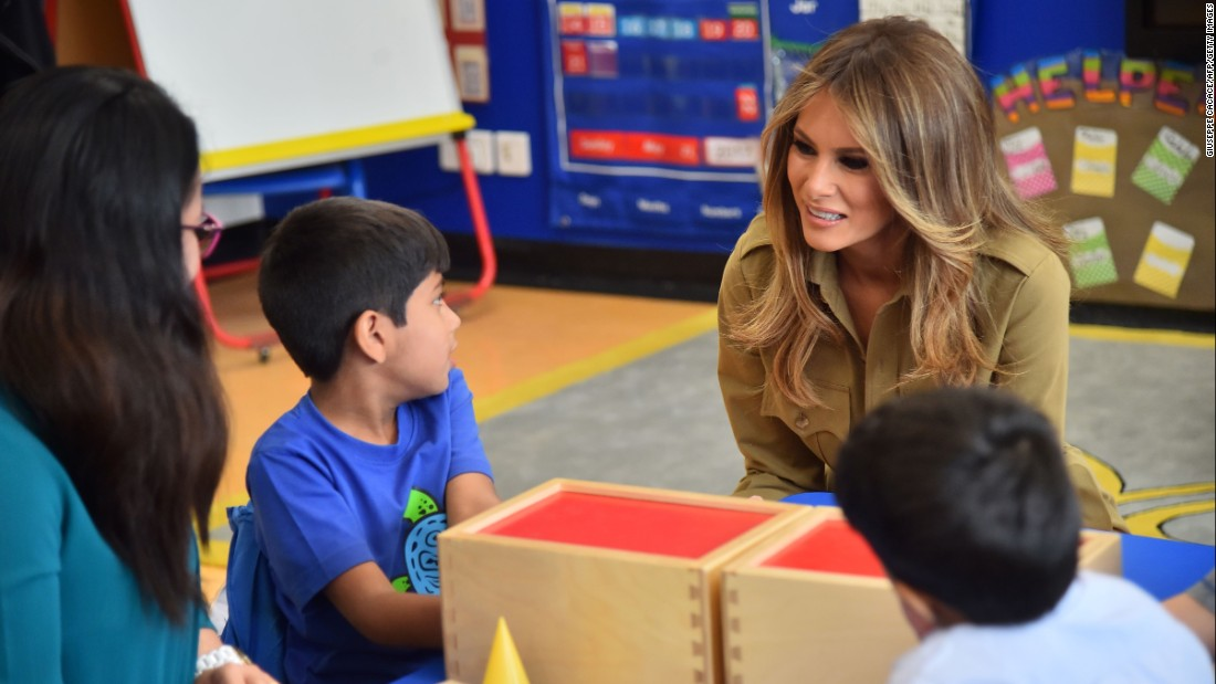 First lady Melania Trump chats with children during a visit to the American International School in Riyadh on May 21.