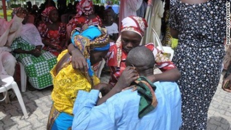 Freed Chibok girls reunited with families