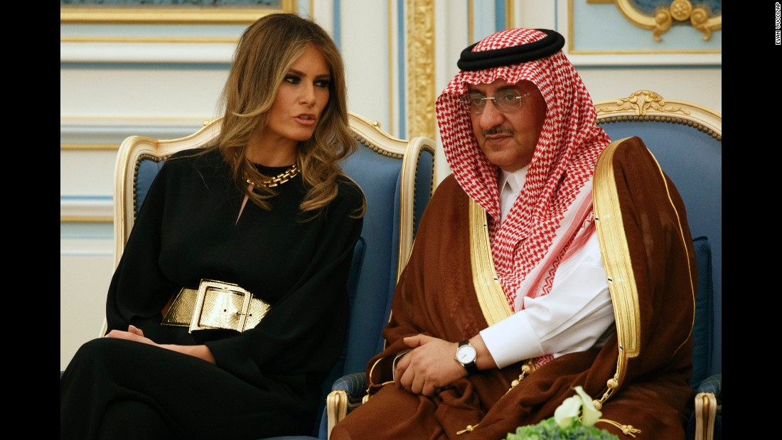 "Trump talks with Saudi Crown Prince Mohammad bin Nayef during a ceremony in Riyadh on Saturday, May 20. <a href=""http://www.cnn.com/2017/05/20/politics/gallery/trump-first-foreign-trip/index.html"" target=""_blank"">See more photos from the President's first foreign trip</a>"