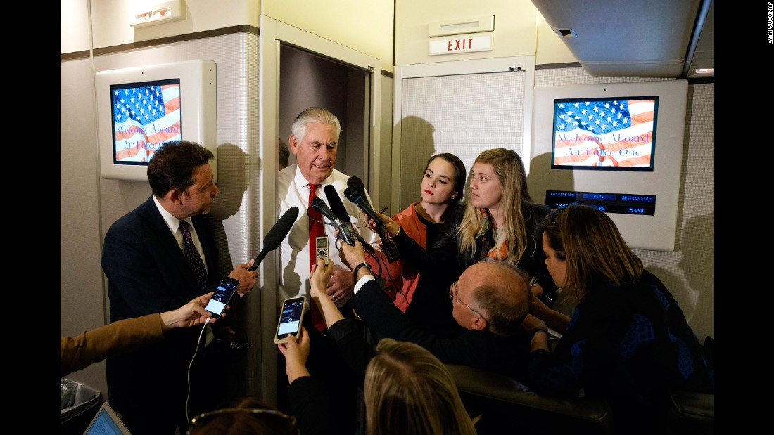 On the way to Tel Aviv, US Secretary of State Rex Tillerson speaks with reporters aboard Air Force One.