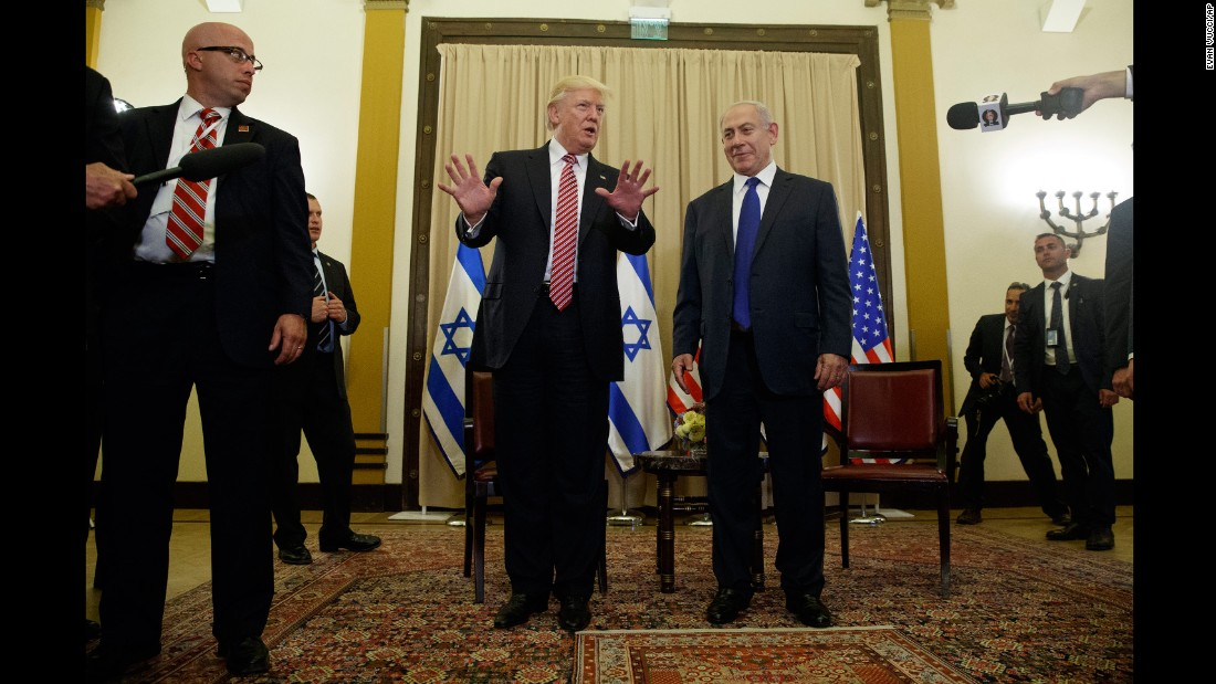 "Trump talks to reporters as he meets with Israeli Prime Minister Benjamin Netanyahu on May 22. <a href=""http://www.cnn.com/2017/05/22/politics/trump-israel-russia-intelligence/"" target=""_blank"">Trump sought to rebut claims</a> that he damaged Israeli intelligence capabilities by revealing highly classified information to Russian operatives earlier this month. ""Just so you understand, I never mentioned the word or the name Israel,"" Trump told reporters as he began the second leg of his first foreign tour."