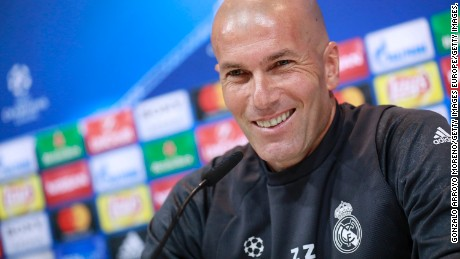 MADRID, SPAIN - MAY 09:  Head coach Zinedine Zidane of Real Madrid CF attends a press conference ahead of the UEFA Champions League Semifinal Second leg match between Club Atletico de Madrid and Real Madrid CF at Valdebebas training ground on May 9, 2017 in Madrid, Spain.  (Photo by Gonzalo Arroyo Moreno/Getty Images,)