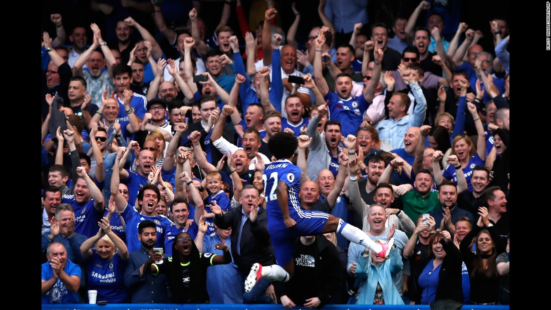 "Chelsea fans celebrate with Willian after the Brazilian scored a goal during a Premier League match in London on Sunday, May 21. The Blues ripped Sunderland 5-1 in what was the final match of <a href=""http://www.cnn.com/2017/05/12/football/antonio-conte-chelsea-premier-league-title-winners-west-brom-batshuayi/"" target=""_blank"">their league-winning season.</a> Chelsea could also win the FA Cup later this month."