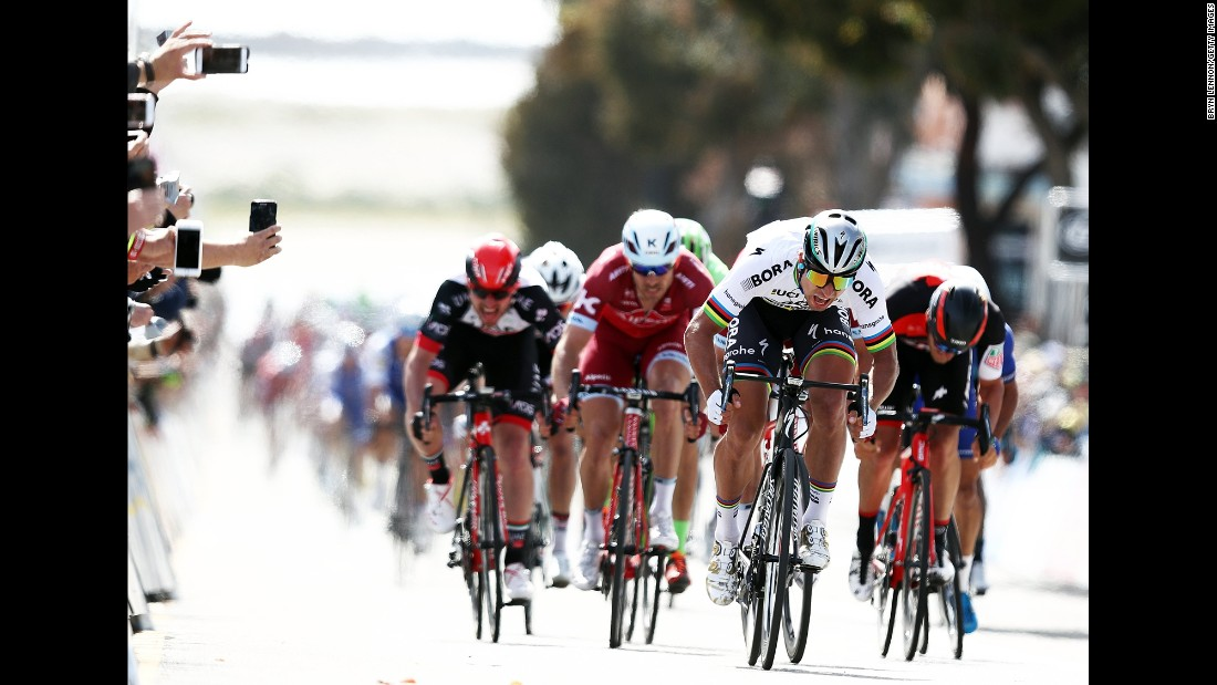 Peter Sagan and his Bora-Hansgrohe team sprint to the finish line during stage 3 of the Tour of California on Tuesday, May 16.