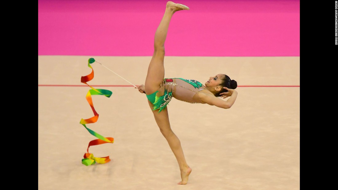 Laura Sales, a rhythmic gymnast from Portugal, performs during the European Championships on Friday, May 19.