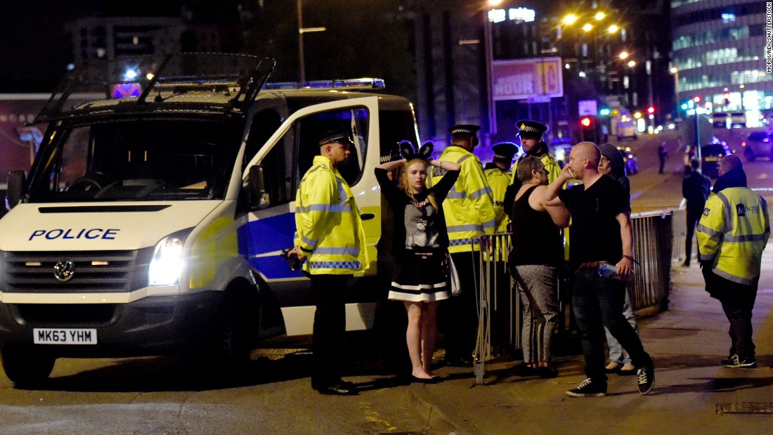 "People gather outside the arena. ""We can confirm there was an incident as people were leaving the Ariana Grande show last night,"" police said on Twitter early on Tuesday. ""The incident took place outside the venue in a public space. Our thoughts and prayers go out to the victims."""