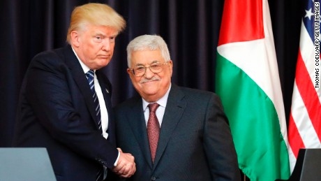 US President Donald Trump (L) and Palestinian leader Mahmud Abbas shake hands during a joint press conference in May.