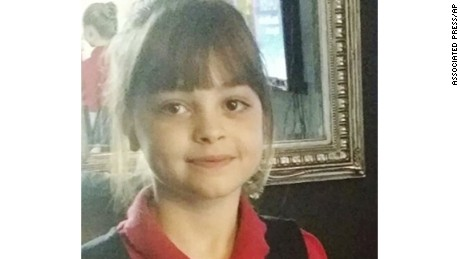 This is a an  undated photo obtained by the Press Association on Tuesday May 23, 2017, of Saffie Rose Roussos,  one of the victims of a  attack at Manchester Arena, in Manchester England  which left more than a dozen dead on Monday. A suicide bomber blew himself up as young concert-goers left a show by the American singer Ariana Grande in Manchester, killing more than a dozen some wearing the star's trademark kitten ears and holding pink balloons as they flee. The Islamic State group says one of its members carried out the attack.