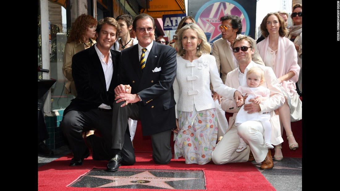 Moore is joined by his fourth wife, actress Kristina Tholstrup, and other family members as he is honored with a star on the Hollywood Walk of Fame in 2007.