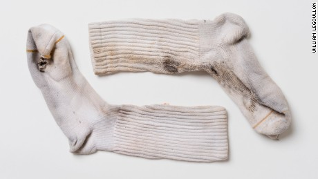 Socks worn by Justin Gauger when he was struck by lightning.