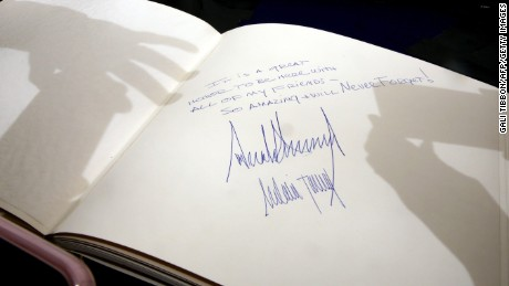 The message written by US President Donald Trump at the Yad Vashem Holocaust Memorial Museum guest book and signed by him and his wife Melania is seen after their visit on May 23, 2017, in Jerusalem.