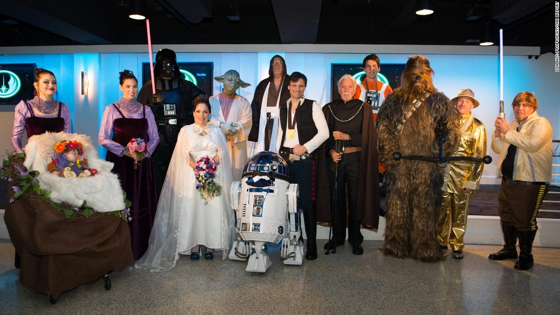 "Tom Proprofsky and Liza Rios-Proprofsky spent almost two years planning their January 2016 ""Star Wars""-themed wedding in Costa Mesa, California."