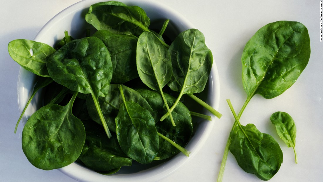 "Spinach is a source of thylakoids, which have been associated with levels of leptin, the hormone that signals you to ""stop"" eating."
