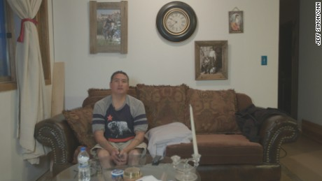 Virgil Poafpybitty inside of his home on the Pine Ridge Indian Reservation in South Dakota.