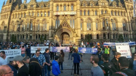 Muslim youth show support for Manchester attack victims