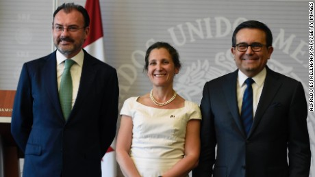 Mexican Foreign Minister Luis Videgaray (L), his Canadian counterpart Chrystia Freeland and Mexican Economy Minister Ildefonso Guajardo, pose for a photo after a press conference about the NAFTA at the Foreign Ministry in Mexico City on May 23, 2017. / AFP PHOTO / ALFREDO ESTRELLA        (Photo credit should read ALFREDO ESTRELLA/AFP/Getty Images)