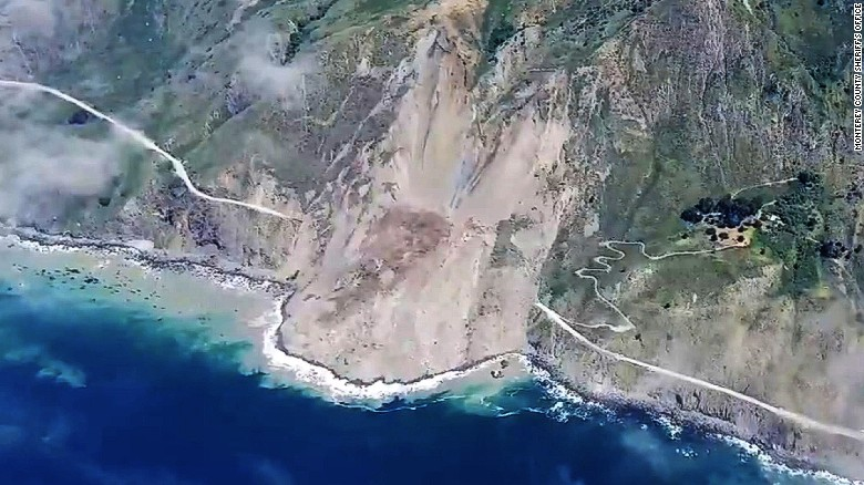 Landslide buries California scenic highway