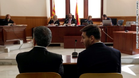 BARCELONA, SPAIN - JUNE 02:  Lionel Messi (R) of FC Barcelona and his father Jorge Horacio Messi seen inside the court during the third day of the trial on June 2, 2016 in Barcelona, Spain. Lionel Messi and his father Jorge Messi, who manages his financial affairs, are accused of defrauding the Spanish Tax Agency of 4.1 million Euros ($4.6 million, £3.2 million) by using companies based in tax havens such as Belize and Uruguay to conceal earnings from image rights during years 2007 to 2009.  (Photo by Alberto Estevez - Pool/Getty Images)