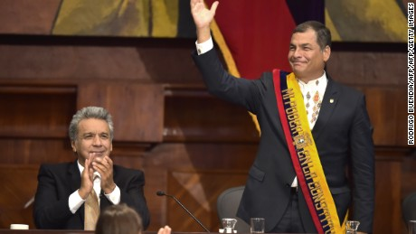 Ecuadorean new President Lenin Moreno (L) and outgoing President Rafael Correa are pictured at the National Assembly in Quito on May 24, 2017 during the former's inauguration ceremony. / AFP PHOTO / Rodrigo BUENDIA        (Photo credit should read RODRIGO BUENDIA/AFP/Getty Images)