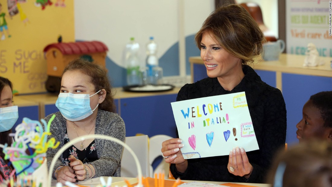The first lady visits a pediatric hospital in Vatican City.
