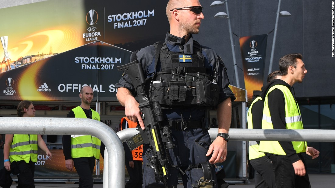 "A marksman patrols the perimeter of the stadium. Following Monday's terror attack in Manchester, European governing body UEFA said there was ""no specific intelligence"" to suggest the match was under threat."
