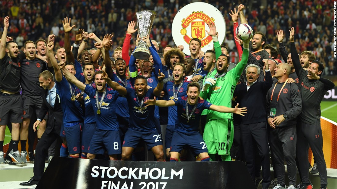 Captain Wayne Rooney lifted the trophy as United's players celebrated the club's first Europa League title.