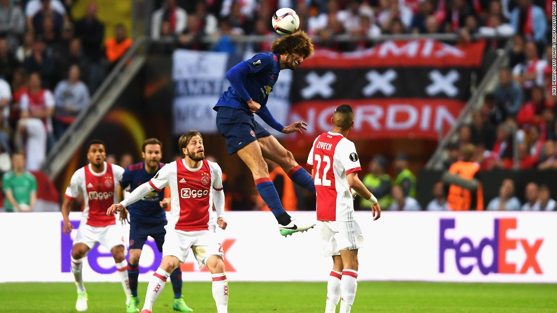 Marouane Fellaini won 15 aerial duels -- a Europa League record for one match.