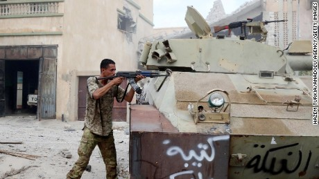Libyan Government of National Accord forces attack ISIS militants in Sirte, Libya.
