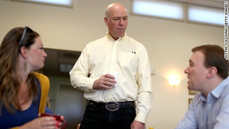 MISSOULA, MT - MAY 24:  Republican congressional candidate Greg Gianforte talks with supporters during a campaign meet and greet at Lambros Real Estate on May 24, 2017 in Missoula, Montana.  Greg Gianforte is campaigning throughout Montana ahead of a May 25 special election to fill Montana's single congressional seat. Gianforte is in a tight race against democrat Rob Quist.  (Photo by Justin Sullivan/Getty Images)