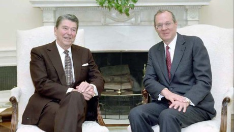President Reagan meeting with Judge Anthony Kennedy in the Oval Office