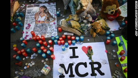 Tributes left in St Ann's Square for the people who died in Monday's terror attack at the Manchester Arena on May 26, 2017 in Manchester, England.