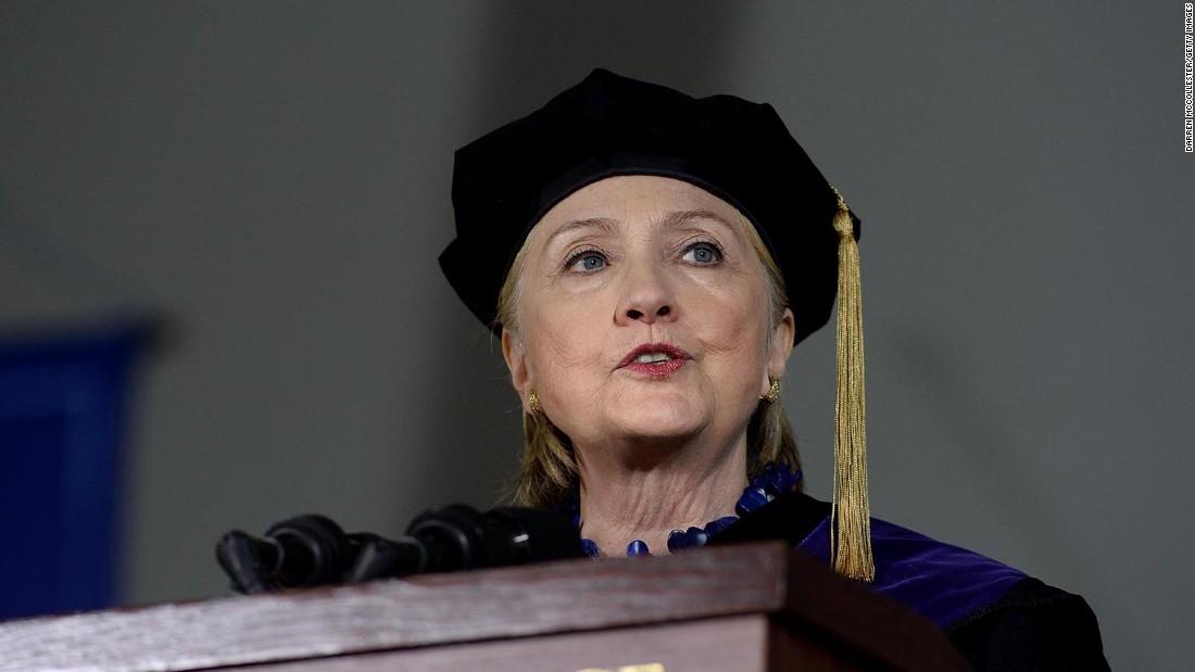 Clinton compares Trump to Nixon in fiery speech at alma mater