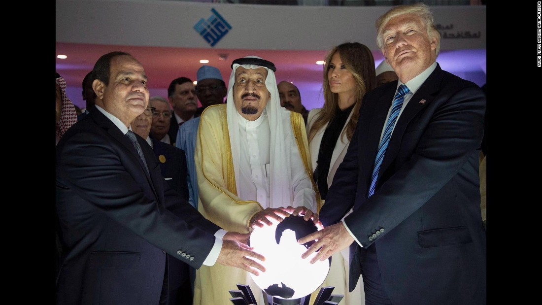 "From right, US President Donald Trump, first lady Melania Trump, Saudi King Salman bin Abdulaziz Al Saud and Egyptian President Abdel Fattah el-Sisi attend an inauguration ceremony for the Global Center for Combating Extremist Ideology. The ceremony in Riyadh, Saudi Arabia, took place on Sunday, May 21, during the first leg of Trump's first foreign tour. <a href=""http://www.cnn.com/interactive/2017/05/politics/trump-foreign-trip-cnnphotos/"" target=""_blank"">On tour with Trump: A behind-the-scenes view</a>"