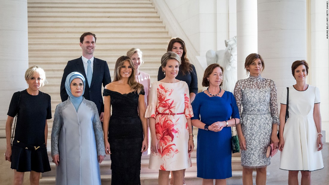 "The partners of various world leaders <a href=""http://www.cnn.com/2017/05/26/world/luxembourg-prime-minister-husband-gauthier-destenay-trnd/index.html"" target=""_blank"">pose for a photo</a> before a dinner in Brussels, Belgium, on Thursday, May 25. In the front row, from left, are French first lady Brigitte Macron; Turkish first lady Emine Erdogan; American first lady Melania Trump; Belgium's Queen Mathilde; Ingrid Schulerud, wife of NATO Secretary General Jens Stoltenberg; Bulgarian first lady Desislava Radeva; and Amelie Derbaudrenghien, partner of Belgian Prime Minister Charles Michel. In the back row, from left, are Luxembourgish first gentleman Gauthier Destenay; Mojca Stropnik, wife of Slovenian Prime Minister Mojca Stropnik; and Thora Margret Baldvinsdottir, wife of Icelandic Prime Minister Bjarni Benediktsson."