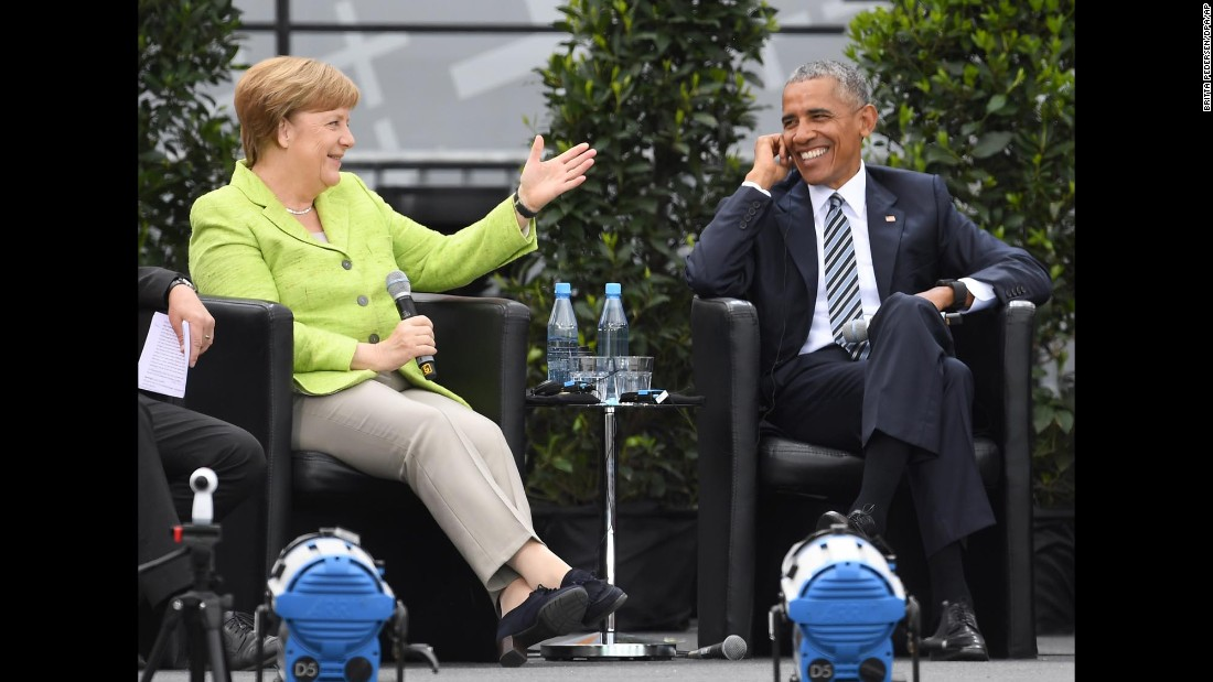 "German Chancellor Angela Merkel and former US President Barack Obama take part in a discussion about democracy Thursday, May 25, at the biennial congress of the German Protestant Church. <a href=""http://www.cnn.com/2017/05/25/politics/obama-merkel-germany/"" target=""_blank"">Both mounted a staunch defense</a> of their brand of liberal global democratic politics amid a surge of populist feeling around the world."