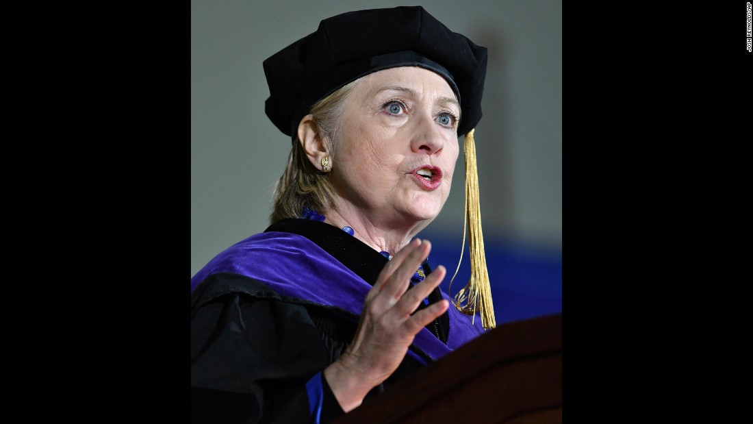 "Hillary Clinton delivers the commencement address at her alma mater, Wellesley College, on Friday, May 26. In her speech, Clinton <a href=""http://www.cnn.com/2017/05/26/politics/clinton-commencement-speech-wellesley/index.html"" target=""_blank"">went after Trump</a> and the controversies that are swirling around him, comparing his imperiled presidency to that of Richard Nixon's."