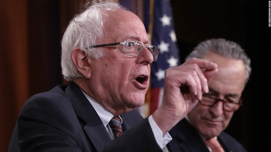 "US Sen. Bernie Sanders answers questions Tuesday, May 23, during a news conference about President Trump's budget proposal. Sanders called Trump's budget ""immoral"" <a href=""http://www.cnn.com/2017/05/24/opinions/trump-budget-is-immoral-sanders-opinion/"" target=""_blank"">in an op-ed he wrote for CNN.</a>"