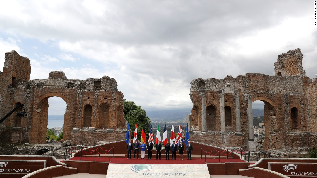 "World leaders pose for a group photo during the G-7 summit in Taormina, Italy, on Friday, May 26. <a href=""http://www.cnn.com/2017/05/20/politics/gallery/week-in-politics-0521/index.html"" target=""_blank"">See last week in politics</a>"