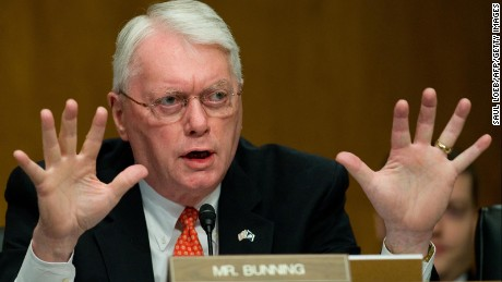 US Senator Jim Bunning, a Republican from Kentucky, questions US Secretary of Housing and Urban Development Shaun Donovan (not pictured) as he testifies before the Senate Banking, Housing and Urban Affairs Committee on the state of the country's housing market on Capitol Hill in Washington, DC, October 20, 2009.